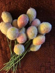 "16 vintage millinery wreath wire picks CHRISTmas flocked yellow orange fruit .5"""