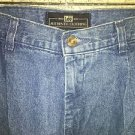 80s style high rise pleated front taper leg denim blue jeans LEE 12 slit pockets
