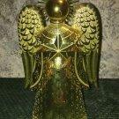 MCM Hollywood regency shiny gold angel CHRISTmas tree topper ornate detail EC