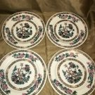 "4 SYRACUSE China India Tree floral  6"" bread plates heavy restaurantware vintage"