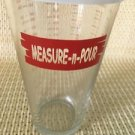 MEASURE-N-POUR clear glass 2C measuring cup lid ozs ml grams teaspoon tablespoon