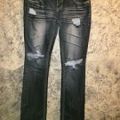 Distressed destroyed faded butt thighs jeans low rise whisker embellish junior 5