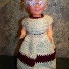 Mrs. Santa Claus grandma doll white hair glasses stand crocheted dress CHRISTmas