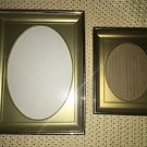 "7/8"" deep gold metal emboss photo picture frames oval mat plastic insert 3x4 5x7"