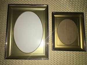 "7/8"" deep gold metal emboss photo picture frames oval mat plastic insert 3x4 5x7"