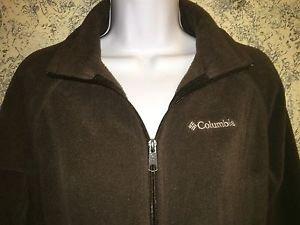 COLUMBIA full zip collared fleece jacket coat brown S fall spring toggle waist