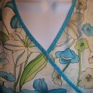 Turquoise khaki floral wrap look crossover scrub top nurse dental back tie M