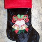 """Black red velour CHRISTmas stocking bells holly leaf wall hanging deco 9x16"""""""