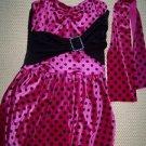 Pink black polka dot velour dance Halloween costume dress up girl L unitard Used