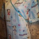 Blue BETTY BOOP cheery wrap look scrub top nurse dental medical women L back tie
