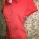 NEW YORK & CO apricot orange cap sleeve button down stretch blouse M career top