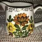 LORD NELSON POTTERY creamer hand painted brown yellow floral gold design England