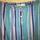 Blue stripe lightweight flannel sleep lounge pj pajama bottoms pants XL metallic