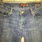 SEVEN 7 distressed denim blue jeans low rise flare medium wash women 28 stretch
