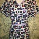 CHEROKEE Studio mock wrap back tie scrubs top nurse dental vet S black lavender