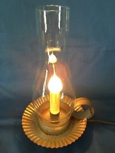 Handcrafted metal candlestick electric light huricane lamp finger loop CHRISTmas