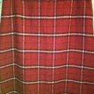 NINE & CO red plaid wool blend lined maxi straight skirt back slit career sz 16