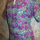 Purple green floral short sleeve scrub top jacket dental lab coat vet uniform S