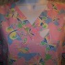 Pink butterflies JAYLYN v-neck scrub top nurse dental medical uniform women M