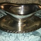 Castleton ? silver plate 2 sided gravy dish attached underplate rope braid edge