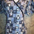 Penguin snowflake winter pullover v-neck scrubs top nurse dental medical vet M