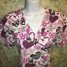 Pink black hearts v-neck scrubs uniform top dental medical nurse vet M 3 pockets
