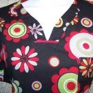 Abstract floral black red green scrubs uniform top dental medical nurse vet S