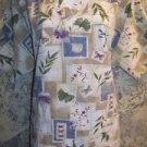 Floral botanical butterfly print v-neck scrubs top nurse medical uniform size M