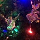 "2 vntg clear acrylic 6"" ballerina dancers CHRISTmas tree ornaments ballet poses"
