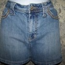 Mid rise blue jean shorts women size 8 denim faded stretch embroidered pockets