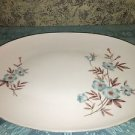 "SANGO Pansy vintage fine china turquoise flower MCM platter 10x14"" made Japan"