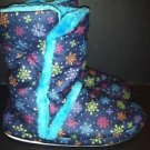 Snowflake print ankle boot bootie slippers warm comfy women's girl's 4/5 JUSTICE