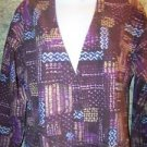 Artsy abstract button front modest neckline scrubs jacket medical nurse vet XS