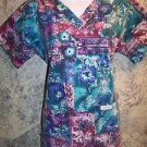LANDAU abstract artsy womens S scrubs nurse dental uniform top v-neck pullover