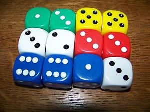 """Set of 12 heavy acetate? 1"""" colorful dice blue green yellow red white kids games"""