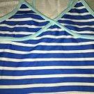 OLD NAVY girl's XS tankini bathing swimming swim suit top blue stripes NWOT