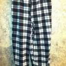 Black plaid sleep lounge drawstring pajama pj pants women large warm fleece GUC