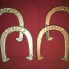 Vintage set 4 RINGER metal pitching horse shoes 2.5# copper silver outdoor sport