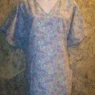 Plus 3X purple floral pullover v-neck scrub top nurse medical uniform women