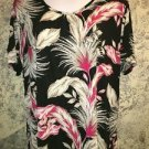 Casual comfy plus XXL knit slinky stretch top large floral print modest neckline