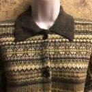 J CREW Hong Kong alpine knit wool cardigan sweater gray green warm artsy teacher