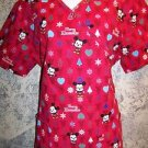 MICKEY MOUSE Christmas wrap look scrub top nurse dental medical women M back tie