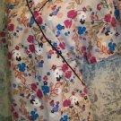 Beige black vibrant floral mock wrap v-neck SB Scrubs top nurse dental medical M
