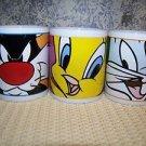 3 Gibson LOONEY TUNES Tweety Bird Bugs Bunny Sylvester coffee tea cocoa cups mug