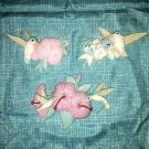 Vintage BURWOOD hummingbirds bird flower wall hangings sculptures plastic pastel