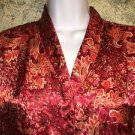 DELICATES silky sleep shirt beautiful red orange paisley floral button down XL