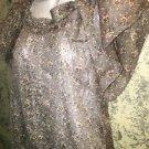 FOREVER 21 flutter sleeve elastic waist blouse semi sheer floral S scoop neck