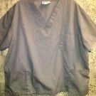 Gray BEST scrubs top v-neck basic 3 pocket pullover medical nurse dental plus 3X