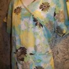 Mock wrap lightweight turquoise floral scrubs top nurse medical dental vet S