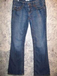 AEROPOSTALE AERO low-rise skinny flare bottom blue jeans women junior 1/2 short